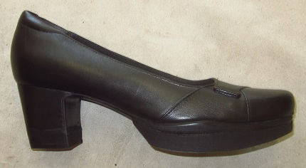 Image of women's Clark shoe after our mail order shoe lift service.